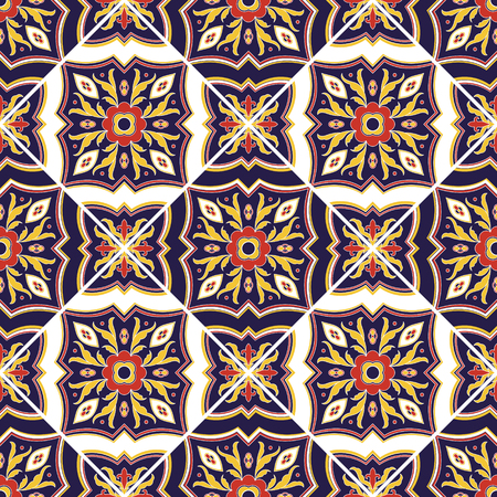 Italian tile pattern vector seamless with ornaments. Portuguese azulejo, mexican talavera, sicily italy, spanish majolica motif. Tiled texture for ceramic kitchen wall or bathroom mosaic floor.