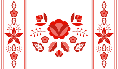 Polish folk pattern vector. Floral ethnic ornament. Slavic eastern european print. Red flower design for lumbar pillow case, gypsy interior textile, boho blanket, bohemian rug, wedding card. Vektoros illusztráció
