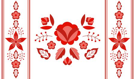 Vecteur de motif folklorique polonais. Ornement ethnique floral. Imprimé slave d'Europe de l'Est. Conception de fleur rouge pour taie d'oreiller lombaire, textile intérieur gitan, couverture boho, tapis bohème, carte de mariage. Vecteurs