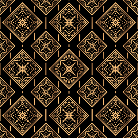 Luxury background vector. Golden royal pattern seamless. Vintage tile design for beauty spa, wedding ceremony, yoga wallpaper, packaging, wrapping paper, christmas and new year backdrop.
