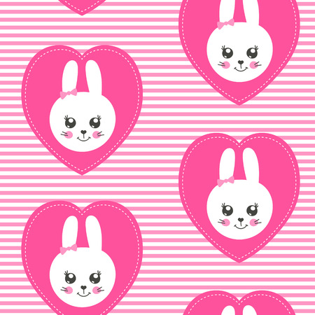 Cute baby pattern with little bunny. Cartoon animal girl print vector seamless. Kids background with funny rabbit face patches for children clothing, princess pajamas party, nursery, bedroom textile.