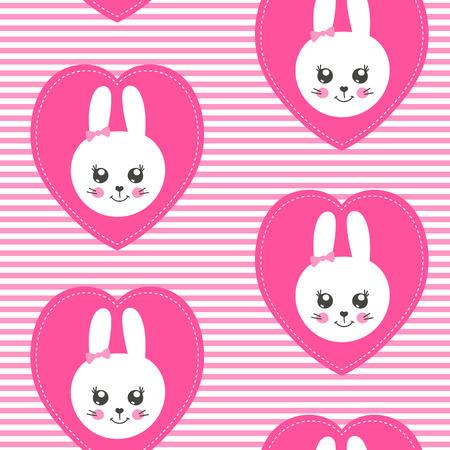 Leuk babypatroon met klein konijntje. Cartoon dierlijk meisje print vector naadloos. Kinderachtergrond met grappige konijnengezichtspatches voor kinderkleding, prinsessenpyjama-feest, kinderkamer, slaapkamertextiel.