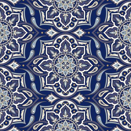 Floral indian paisley pattern vector seamless. Vintage flower ethnic ornament for indonesia batik sarong fabric. Oriental folk design for bedroom textile, yoga wallpaper, turkish luxury wedding.