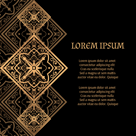 Luxury background vector. Golden royal pattern. Vintage victorian tile design for beauty spa, wedding ceremony, greeting card, anniversary template, menu covering, christmas and new year concepts.