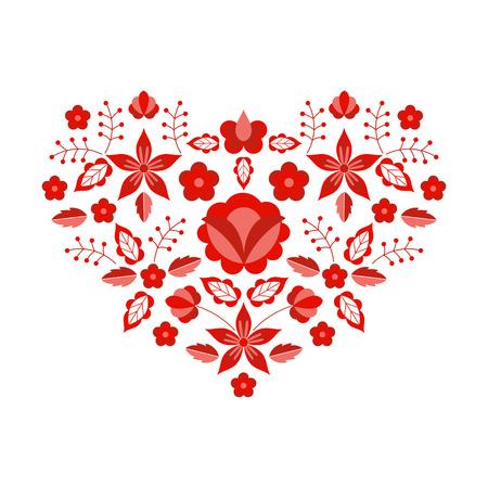 Vecteur de motif folklorique polonais. Ornement ethnique floral. Estampe slave d'Europe orientale. Conception de fleur de coeur rouge pour les cartes de Saint-Valentin boho, broderie de décolleté, taie d'oreiller gitane, textile d'intérieur bohème. Vecteurs