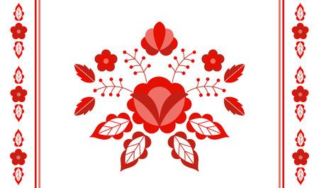 Polish folk pattern vector. Floral ethnic ornament. Slavic eastern european print. Red flower design for gypsy lumbar pillow case, interior textile, bohemian blanket, boho rug, rustic wedding card.