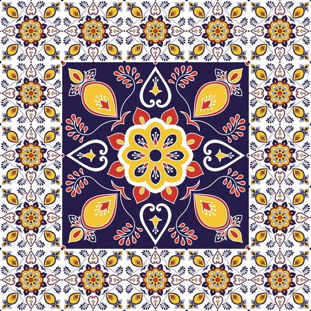 Italian tile pattern vector with porcelain ornament texture. Big element in center is framed. Ceramic background with portuguese azulejo, mexican talavera, spanish, sicily majolica, moroccan motifs.