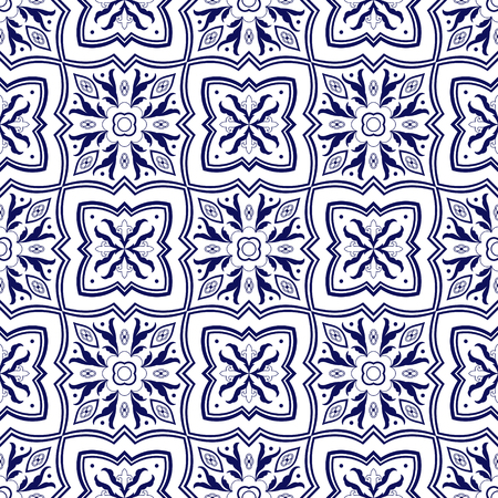 Spanish tile pattern vector seamless with flower ornaments. Portuguese azulejo, mexican talavera, italian majolica or delft dutch. Tiled ceramic texture for mosaic kitchen wall or bathroom floor.