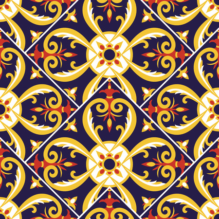 Italian tile pattern vector with scale mosaic floral ornaments. Portuguese azulejo, mexican talavera, spanish or sicily majolica. Tiled texture for kitchen or bathroom flooring ceramic background. Vektorové ilustrace