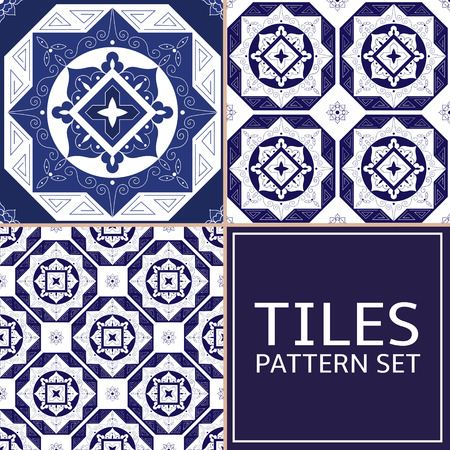 Set of 3 tile pattern vector seamless. Greek, arabic, Azulejo portuguese tiles, delft dutch or mexican talavera design. White and indigo blue tiled print for wrapping, background or ceramic.