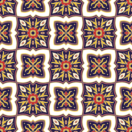 Portuguese tile pattern vector seamless with ornaments. Portugal azulejo, mexican talavera, italian sicily majolica motif. Tiled texture background for kitchen mosaic wall or bathroom floor ceramic.