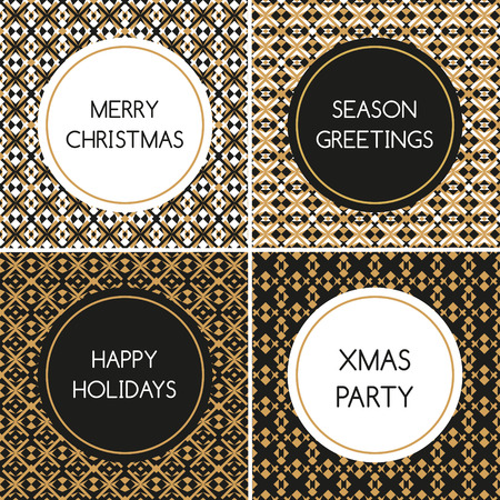 Merry Christmas card set vector. Happy holidays tags or labels template collection. Gold black abstract modern geometric pattern design. Prints for shopping web banner or party invitation.