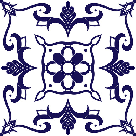 Delft dutch tiles pattern vector with blue and white ornaments. Portuguese azulejo, mexican talavera, italian or spanish majolica. Vintage tiled floor print for ceramic or fabric design.