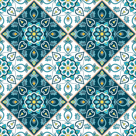 Mexican tile pattern seamless vector with flower ornaments. Portuguese azulejo, mexico talavera, italian or spanish majolica motif. Tiled texture for kitchen tablecloth or bathroom flooring ceramic.