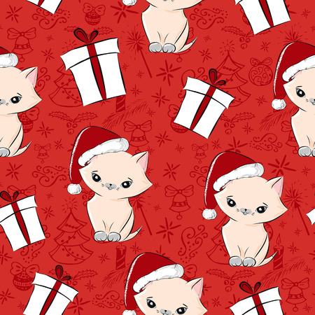 Vintage seamless christmas pattern vector for wrapping paper. Cute kitten in santa hat and gift boxes on red background. Holiday winter new year present print for girl, sister, daughter or mother.