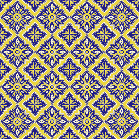 Italian tile pattern vector seamless with flower ornaments. Portuguese azulejo, mexican talavera, italy sicily majolica, spanish motifs. Tiled texture for ceramic kitchen wall or bathroom mosaic floor.