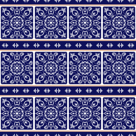 Italian tile pattern vector with border blue and white floral ornaments. Portuguese azulejo, mexican talavera, spanish or sicily majolica. Tiled texture for kitchen or bathroom flooring ceramic.