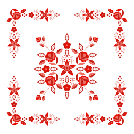 Polish folk pattern vector. Floral ethnic ornament. Slavic eastern european print. Red border flower design for gypsy scarf embroidery, boho blanket, bohemian interior textile, mexican tablecloth. Imagens - 116861377
