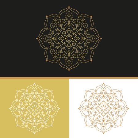 Outline golden mandala vector. Luxury floral design for florist logo, bridal shower or wedding invitation emblem, save the date or anniversary card, cosmetics or perfume label, spa beauty flyer.