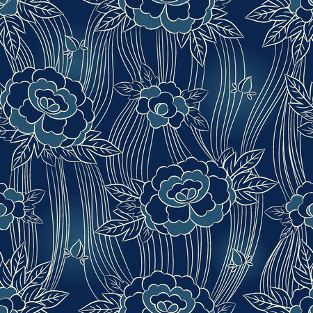 Peony japanese pattern seamless vector. Oriental floral background. Blue vintage floral print on white paper, jacquard furniture, silk scarf. Imagens - 116861906