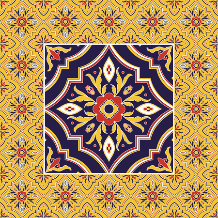 Italian tile pattern vector with ornaments. Big texture tiled element in center with frame. Portuguese azulejo, mexican talavera, spanish ceramic, italy sicily majolica, venetian mosaic.