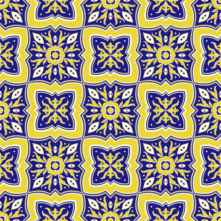 Spanish tile pattern vector seamless with floral ornaments. Portuguese azulejo, mexican talavera, italian majolica, spain barcelona motifs. Texture for ceramic kitchen wall or bathroom mosaic floor. Ilustração