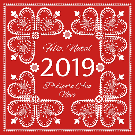 Folk art Holiday card vector template. Feliz Natal & Prospero Ano Novo 2019 - Merry Christmas and Happy New Year in Portuguese. Season red background with white ornaments. Imagens - 116861921