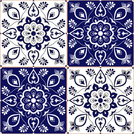 Portuguese tile pattern vector with blue and white floral ornament. Azulejo, mexican talavera, spanish, italian majolica, delft dutch motis. Tiled texture background for wallpaper or flooring ceramic.
