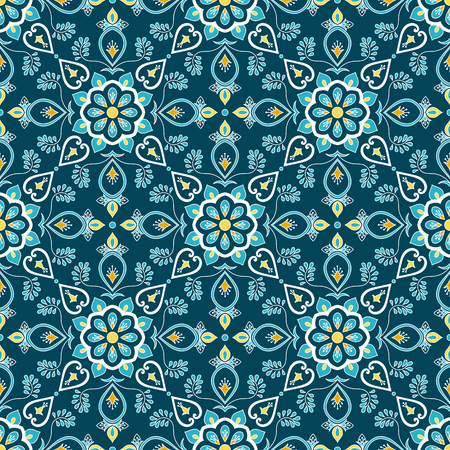 Italian tile pattern vector seamless with flower ornament. Portuguese azulejo, mexican puebla talavera, spanish or italy sicily majolica. Tiled texture for house kitchen or bathroom flooring ceramic.