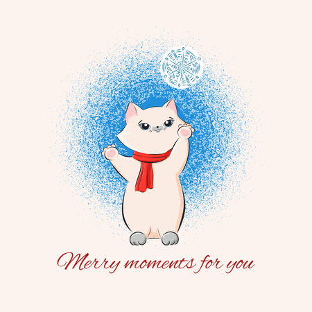 Vintage Merry Christmas card design template vector. Cute kitten in red scarf with snowflake. Cute New Year illustration for holiday greeting for baby girl, girlfriend, sister, grandmother, daughter. Imagens - 116861923