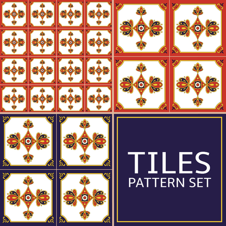 Set of tile pattern seamless vector blue, red, yellow and white color. Azulejo portuguese tiles, spanish, moroccan, mexican talavera, italian majolica or arabic motifs. Imagens - 127693039