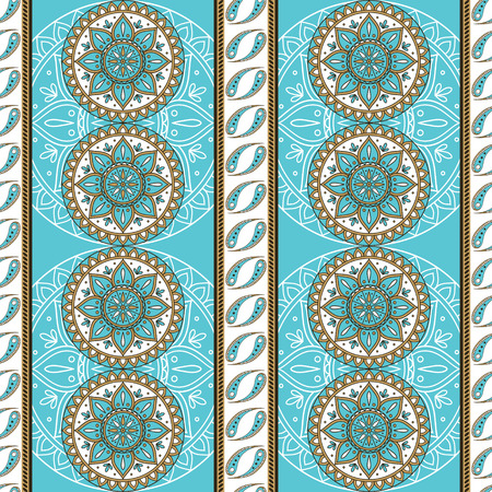 Floral indian paisley pattern vector seamless border. Vintage flower ethnic ornament for indonesia batik sarong fabric. Oriental folk design for boho blanket, bohemian clothing, yoga wallpaper. Ilustração