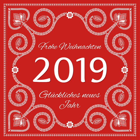 Folk art christmas card vector template. Frohe Weihnachten und Gluckliches neues Jahr 2019 - Merry Christmas and Happy New Year 2019 in german Ilustração