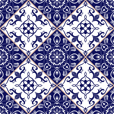 Portuguese tile pattern vector with blue and white flower ornaments. Portugal azulejo, mexican talavera, spanish or italian sicily majolica. Tiled texture for kitchen or bathroom flooring ceramic.