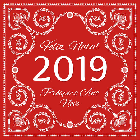Folk art christmas card vector template. Feliz Natal & Prospero Ano Novo 2019 - Merry Christmas and New Year in Portuguese Language Imagens - 116861926