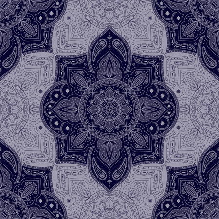 Floral indian paisley pattern vector seamless. Vintage flower ethnic ornament for silk scarf fabric. Oriental folk design for bedroom textile, boho clothing, yoga wallpaper, india luxury wedding. Imagens - 127457101