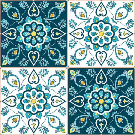 Portuguese tile pattern vector with baroque floral ornament motifs. Portugal azulejo, mexican talavera, spanish or italian majolica design. Tiled texture background for wallpaper or flooring ceramic.