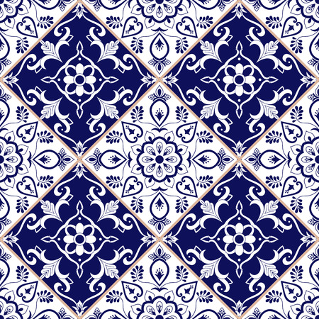 Mexican tile pattern vector with blue and white flower ornaments. Portuguese azulejo, puebla talavera, spanish or italian sicily majolica. Tiled texture for kitchen or bathroom flooring ceramic. Ilustração