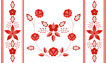 Polish folk pattern vector. Floral ethnic ornament. Slavic eastern european print. Red flower design for bolster pillow case, gypsy interior textile, boho blanket, bohemian rug, rustic wedding card.