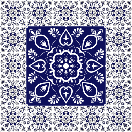 Vintage tiles floor. Floral pattern vector with ceramic texture. Big tile in center is framed. Background with portuguese azulejo, mexican talavera, spanish, italian majolica, delft dutch motifs. Ilustração
