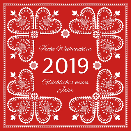 Folk art Holiday card vector template. Frohe Weihnachten & Gluckliches Neues Jahr 2019 - Merry Christmas & Happy New Year in German. Season red background with white ornaments.