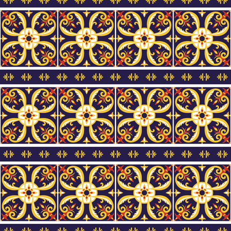 Portuguese tile pattern vector with border ornaments. Portugal azulejo, mexican talavera, spanish or italian sicily majolica. Tiled mosaic texture for kitchen or bathroom flooring ceramic background.