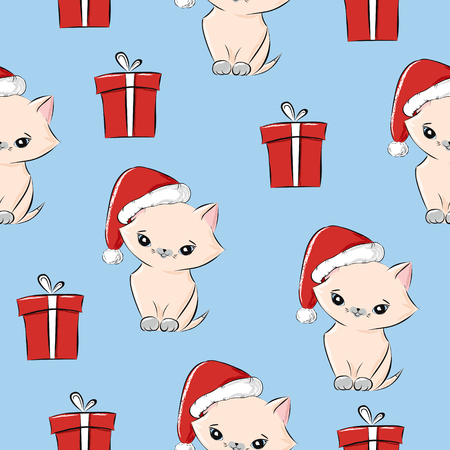 Vintage seamless christmas pattern vector for wrapping paper. Cute baby kitten in santa hat and gift boxes on light blue background. Holiday winter new year present print for kids and friends.