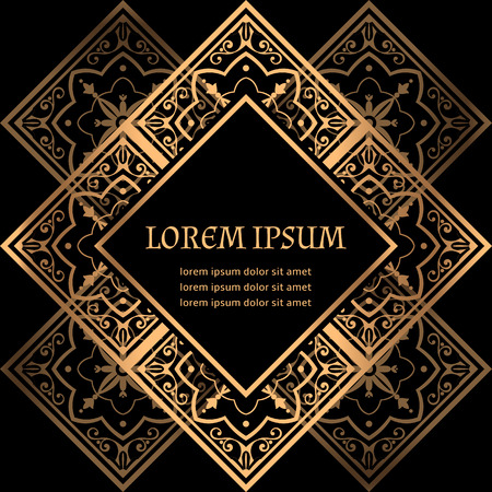 Luxury background vector. Golden royal pattern. Oriental frame design for beauty spa, wedding ceremony, greeting card, anniversary template, menu covering, christmas and new year concepts. Ilustração