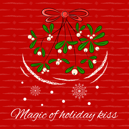 Vintage Merry Christmas card design template vector. Holly kiss mistletoe with bow and snowflakes. Cute New Year illustration for holiday greeting, party invitation, season banner, poster.