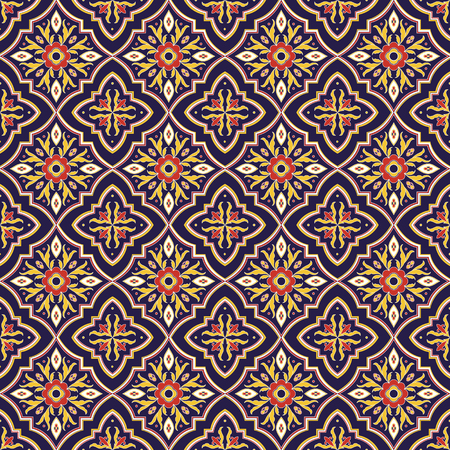 Italian tile pattern vector seamless with flower ornaments. Portuguese azulejo, mexican talavera, spanish, sicily majolica motifs. Tiled texture for ceramic kitchen wall or bathroom mosaic floor.
