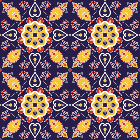 Mexican tile pattern vector with baroque floral ornament. Portuguese azulejo, puebla talavera, spanish, italian majolica, moroccan motifs. Tiled texture background for tablecloth or flooring ceramic.