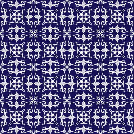 Mexican tile pattern vector seamless with blue and white ornaments. Portuguese azulejo, puebloan talavera, delft dutch, spanish or italian majolica. Tiled texture background for flooring ceramic.