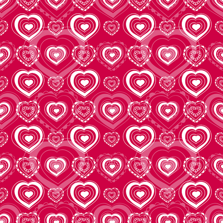 Heart pattern vector seamless. Loving sketch girl print. White line contour hearts on pink background. Design for Valentine day cards, wallpaper, fabric and wrapping paper. Ilustração
