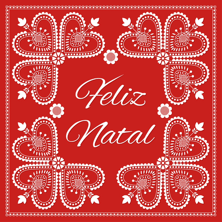 Folk art Holiday card vector template. Feliz Natal - Merry Christmas in Portuguese. Season red background with ornament. Retro design illustration for banner, greeting, party invitation, poster.